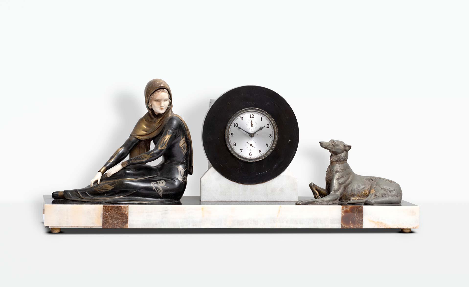 orologio-in-marmo-e-bronzo-deco-anni-30-cane-donna-vendita-arredamento-di-design-asolo-treviso-vicenza-italia-a