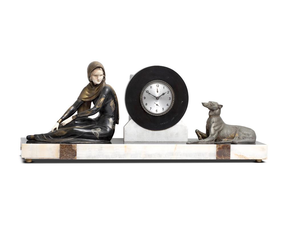 orologio-in-marmo-e-bronzo-deco-anni-30-cane-donna-vendita-arredamento-di-design-asolo-treviso-vicenza-italia